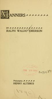 Cover of: Manners | Ralph Waldo Emerson