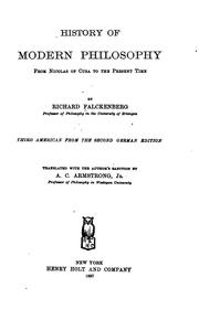 Cover of: History of modern philosophy from Nicolas of Cusa to the present time | Richard Falckenberg