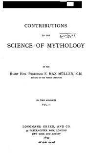 Cover of: Contributions to the science of mythology