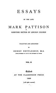 Cover of: Essays by the Late Mark Pattison