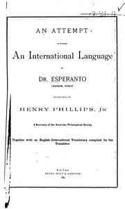 Cover of: An attempt towards an international language