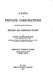 Cover of: Cases on private corporations