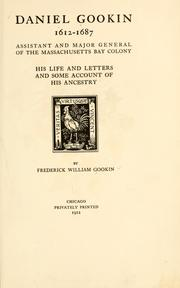 Cover of: Daniel Gookin, 1612-1687 | Frederick William Gookin