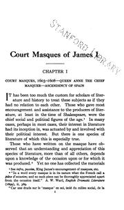 Cover of: Court masques of James I | Mary Sullivan