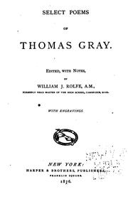 Cover of: Select poems of Thomas Gray