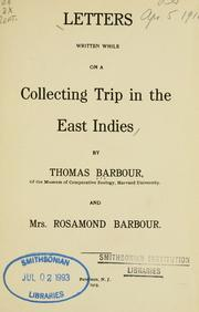 Cover of: Letters written while on a collecting trip in the East Indies