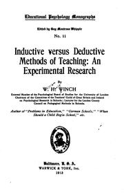 Cover of: Inductive versus deductive methods of teaching | W. H. Winch