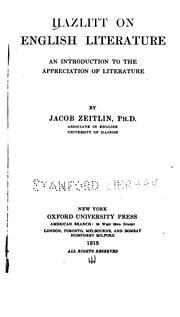 Cover of: Hazlitt on English literature: an introduction to the appreciation of literature