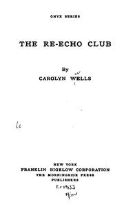 Cover of: The Re-echo club