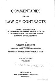 Cover of: Commentaries on the law of contracts | William Frederick Eliott