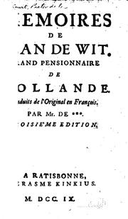 Cover of: Memoires de Jean de Wit