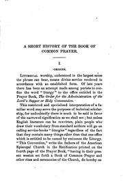 Cover of: A short history of the Book of common prayer