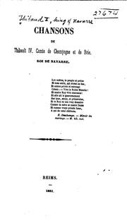 Cover of: Chansons de Thibault IV