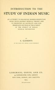 Cover of: Introduction to the study of Indian music