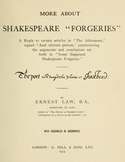 "Cover of: More about Shakespeare ""forgeries"""