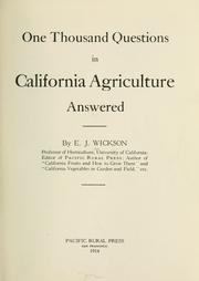 Cover of: One thousand questions in California agriculture answered