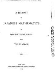 Cover of: A history of Japanese mathematics