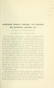 Cover of: Darwinism, medical progress and eugenics