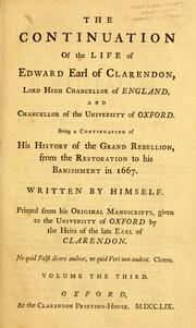 Cover of: The life of Edward Earl of Clarendon