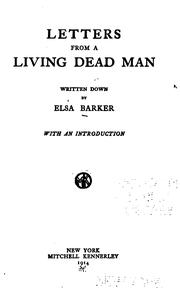 Cover of: Letters from a living dead man | Elsa Barker