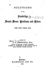 Cover of: Solutions of the Cambridge Senate-house problems and riders for the year 1875