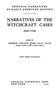 Cover of: Narratives of the witchcraft cases, 1648-1706