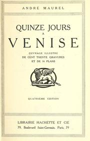 Cover of: Quinze jours à Venise