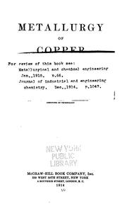 Cover of: Metallurgy of copper | H. O. Hofman