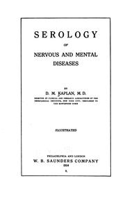 Cover of: Serology of nervous and mental diseases