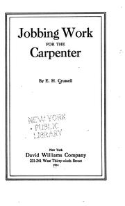 Cover of: Jobbing work for the carpenter | E. H. Crussell