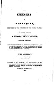 Cover of: speeches of Henry Clay | Clay, Henry