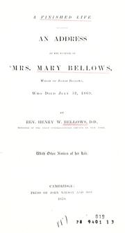 A finished life by Henry W. Bellows