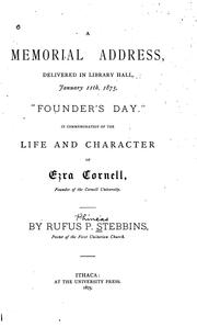 "Cover of: A memorial address, delivered in Library hall, January 11th, 1875, ""Founder's day."""