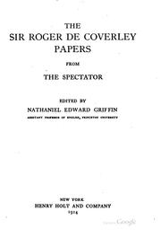 Cover of: Sir Roger de Coverley papers | Joseph Addison