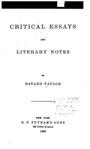 Cover of: Critical essays and literary notes
