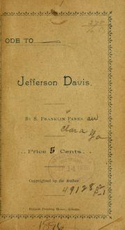 Cover of: Ode to Jefferson Davis | S. Franklin Parks