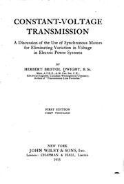 Cover of: Constant-voltage transmission | Herbert Bristol Dwight