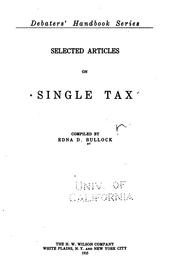 Cover of: Selected articles on single tax