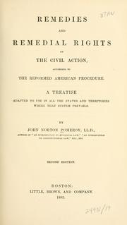 Cover of: Remedies and remedial rights by the civil action, according to the reformed American procedure. | Pomeroy, John Norton