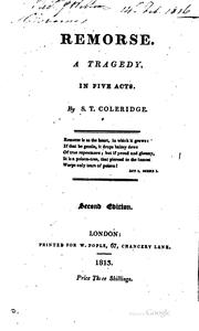 Cover of: Remorse: a tragedy : as originally written in 1797