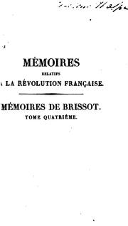 Cover of: Mémoires de Brissot ... sur ses contemporains