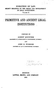 Primitive and ancient legal institutions by Kocourek, Albert