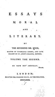 Cover of: Essays moral and literary