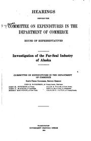 Cover of: Hearings before the Committee on expenditures in the Department of commerce, House of representatives