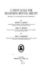 Cover of: A point scale for measuring mental ability