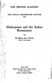 Shakespeare and the Italian renaissance by Lee, Sidney Sir