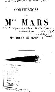 Cover of: Confidences de Mlle Mars