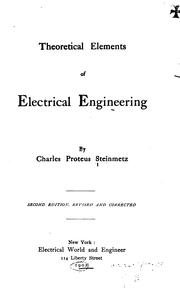 Cover of: Theoretical elements of electrical engineering