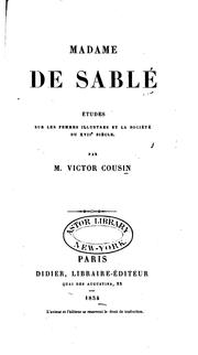 Cover of: Madame de Sablé