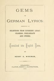 Cover of: Gems of German lyrics | Henry D. Wireman